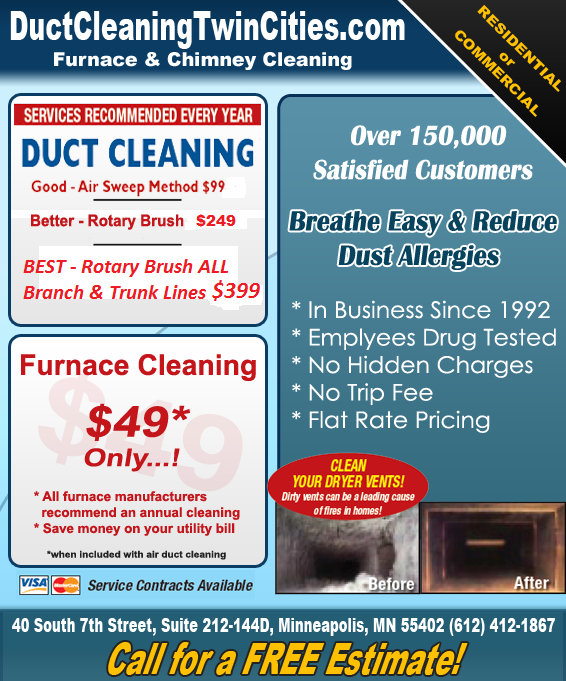 Minneapolis St Paul Duct Cleaning Specials